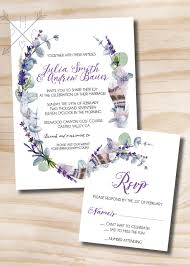 Card Invitation Rustic Feather Eucalyptus And Lavender Wedding Invitation And
