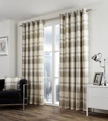 one pair of balmoral check eyelet header curtains in natural size