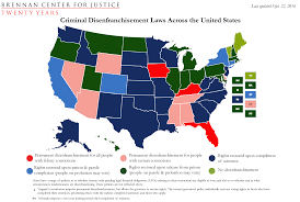 State Map United States by Criminal Disenfranchisement Laws Across The United States