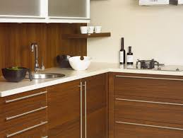 brown and white kitchen designs example of a classic l shaped