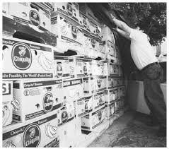 Guatemalan American Julio Recinos volunteers to cover banana boxes filled with canned food for victims of