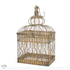 oiseaux en metal petite cage a oiseaux decorative en metal patine ancienne