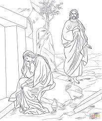 jesus appears to mary magdalene after resurrection coloring page