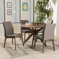 Five Piece Dining Room Sets Baxton Studio Kimberly Mid Century Modern Walnut Wood Round 5