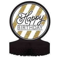 black u0026 gold happy birthday honeycomb centerpiece case of 6
