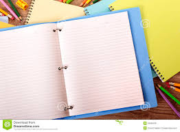 Student Desk Blank Lined Paper Writing Book Ring Binder Copy Space     Student desk blank lined paper writing book ring binder copy space