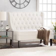 linklea high back tufted settee bench ivory sofas seating images
