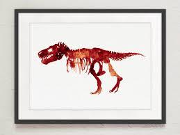 dinosaurs bones blue 2 watercolor illustration art print