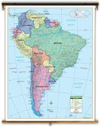 South America Map And Capitals by Primary South America Political Classroom Map On Spring Roller