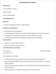 Sales Resume Template         Free Samples  Examples  Format     Sample Sales Engineer Resume Template