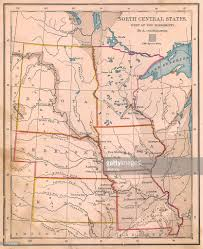 Mexico Map 1800 by Old Color Map Of North Central States From 1800s Stock Photo