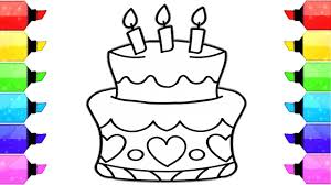 how to draw birthday cake coloring pages for kids learn drawing