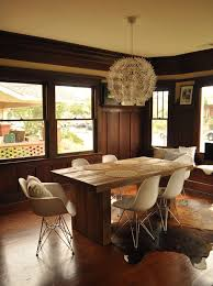Rustic Modern Dining Room Tables by Rustic Modern Dining And Eames Style Chairs Inmod Style