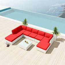 White Wicker Outdoor Patio Furniture by New Uduka Ibiza 9pcs Outdoor Red Sectional Patio Furniture White