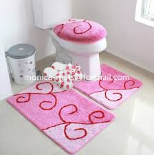 5 Piece Bathroom Rug Set by Super Soft Shining Chenille Colorful Anti Slip Washable 5 Piece