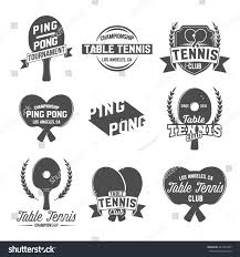 set table tennis ping pong labels stock vector 447300187