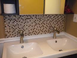 decor small bathroom design with white vanity cabinets and peel