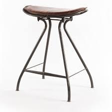 leather saddle bar stools ryder saddle tan leather iron counter stool zin home