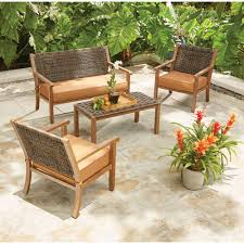 Wicker Outdoor Furniture Sets by Draper 4 Piece Wicker Patio Conversation Set With Tan Cushions