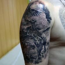 Tattoo Designs Half Sleeve Ideas Awesome Wolf With Mjolnir Mens Half Sleeve Tattoo Ideas Tattoo