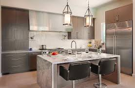 Stainless Steel Kitchen Pendant Light by Upscale Solid Wood Counters Nearby Tall Wooden Bar Stools 600x845