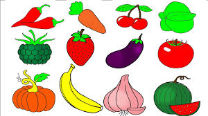 fruit coloring pages learn colors for kids and color vegetables