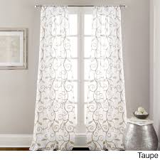 leaf swirl embroidered curtain panel pair taupe brown size 37
