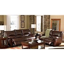 amazon com 2pc recliner sofa u0026 loveseat set in brown leather