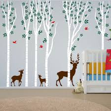 compare prices on vinyl forest deer wall decals online shopping poomoo wall decals new birch tree wall decal aspen forest birds deer vinyl sticker nursery art