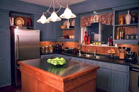 good looking small kitchen ideas displaying l shaped blue painted