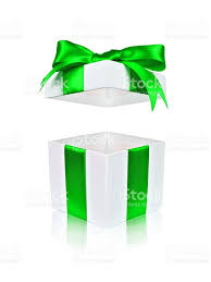 open white gift box with green bow and floating lid stock photo