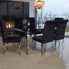 black glass and 200cm steel dining table and 6 chairs