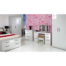 White Shiny Bedroom Furniture Kensington 2ft6 2 Drawer Wardrobe