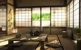 Traditional Korean Bedroom Design Japanese House With Chabudai Table And Cushions On Tatami