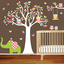 Tree Decal For Nursery Wall by Tree Decal Nursery Wall Stickers Colorful Tree Owl Wall Decal