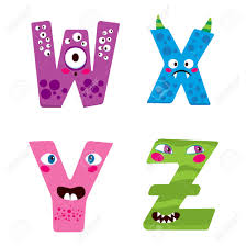 halloween cute clipart cute halloween alphabet with funny w x y z monster characters