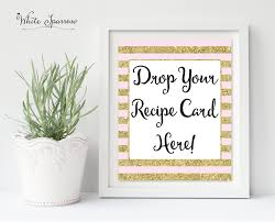 drop your recipe card here gold bridal shower sign bridal shower