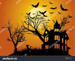 halloween background haunted house bats pumpkin stock vector