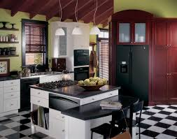 Red White And Black Kitchen Ideas Ge Profile Kitchen With Black Appliances Green Walls And White