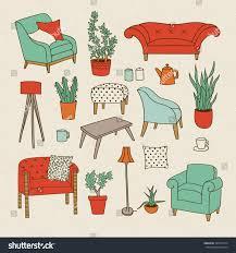 Furniture Of Living Room Vector Set Handdrawn Furniture Living Room Stock Vector 596371274
