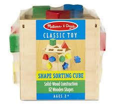 amazon com melissa u0026 doug shape sorting cube classic wooden toy