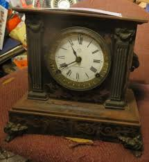 Ansonia Mantel Clock Antique 1800s Ansonia Cast Iron Body Lions Head Mantel Clock