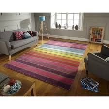 Coloured Rug Flair Rugs Illusion Candy Stripe 100 Wool Hand Tufted Rug Multi