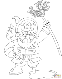 pirate with mop coloring page free printable coloring pages