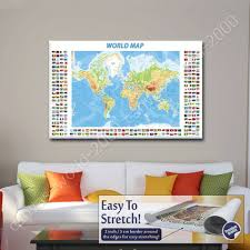 World Map Canvas by Canvas Gift Physical Modern Flags World Map Paintings Wall Art