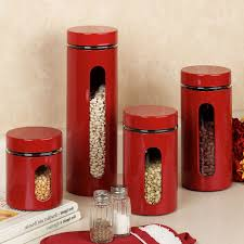 Pottery Canisters Kitchen Red Canister Set For Kitchen Kenangorgun Com