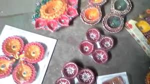 Diwali Decoration In Home Colorful Diwali Decorative Clay Diya Color At Home Youtube