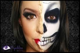 peeling half skeleton halloween makeup tutorial by eyedolizemakeup
