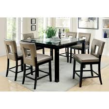 Glass Rectangle Dining Table Furniture Of America Vanderbilte 7 Piece Wood With Glass Inlay