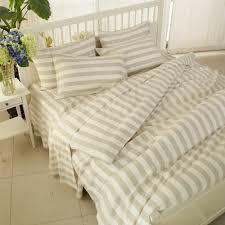 classic beige striped bedding natural linen bed set botticing